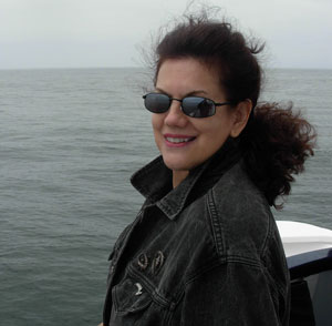 Mara Purl on a whale watching trip for her upcoming book, When Whales Watch
