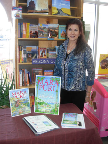 Mara Purl signs at The Worm Bookstore in Sedona, Arizona