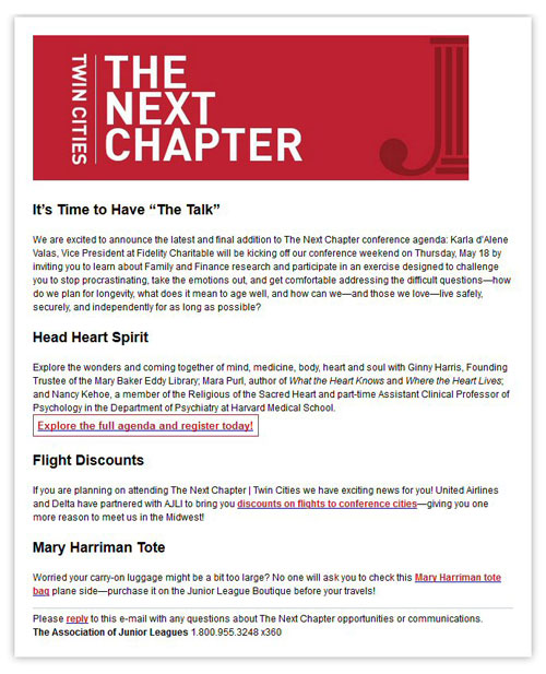 "Mara Purl – Conference Presenter: ""The Next Chapter: A Conference for Women by the Twin Cities Junior League"""