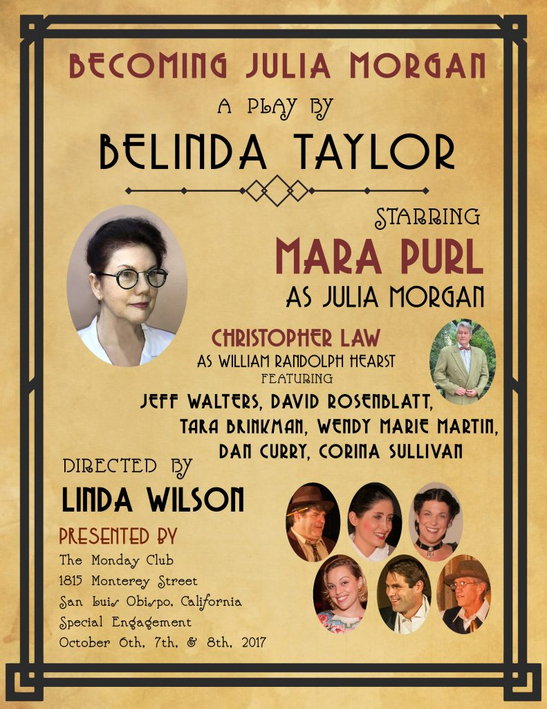 Mara Purl starring as Julia Morgan in Becoming Julia Morgan – August 5th