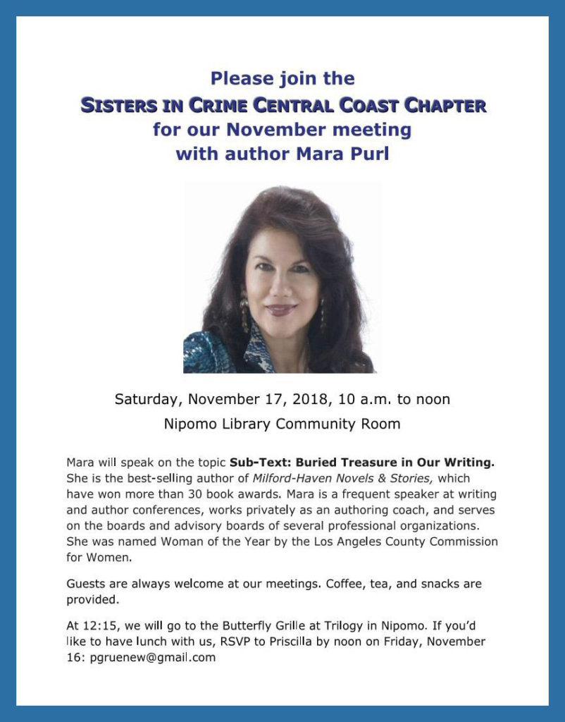 Mara Purl – Presenter: Sisters in Crime Meeting