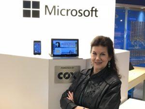 Mara uses Windows 10 on her Microsoft Surface and on her Windows Phone.